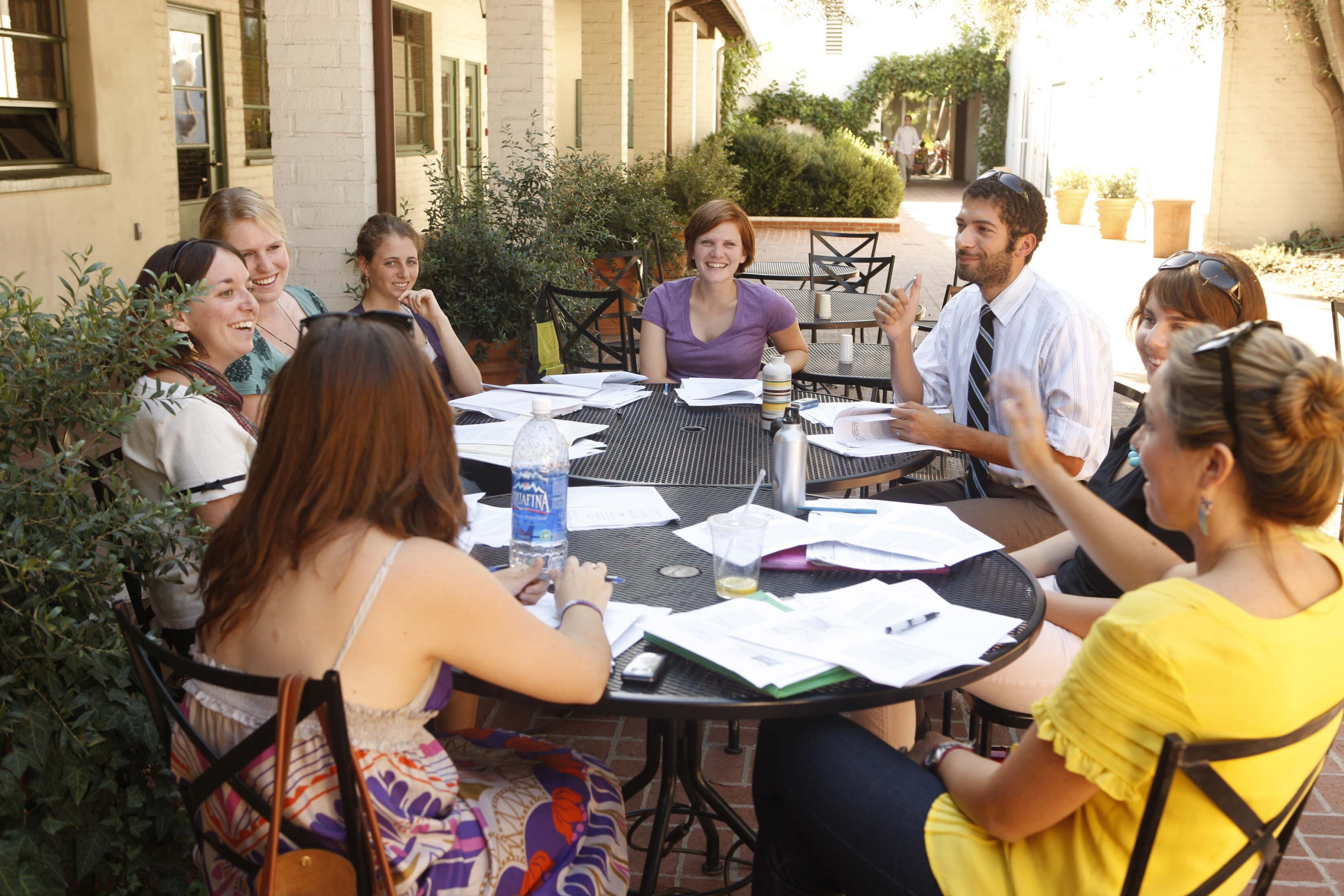 Scripps College Photo - Students meet with their professor for discussion in one of the many courtyards on the Scripps College campus.